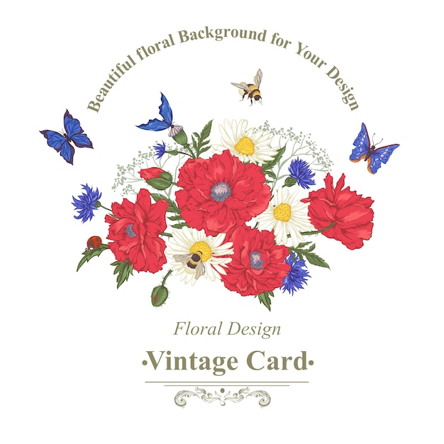 Summer vintage floral bouquet. greeting card with blooming red poppies chamomile ladybird daisies cornflowers bumblebee bee and blue butterflies. Premium Vector
