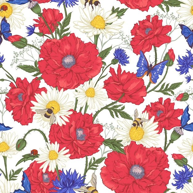 Summer vintage floral seamless pattern with blooming red poppies chamomile ladybird and daisies cornflowers bumblebee bee and blue butterflies. Premium Vector