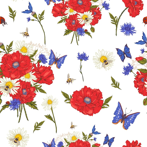 Summer vintage floral seamless pattern with blooming red poppies chamomile ladybird and daisies cornflowers bumblebee bee and blue butterflies Premium Vector