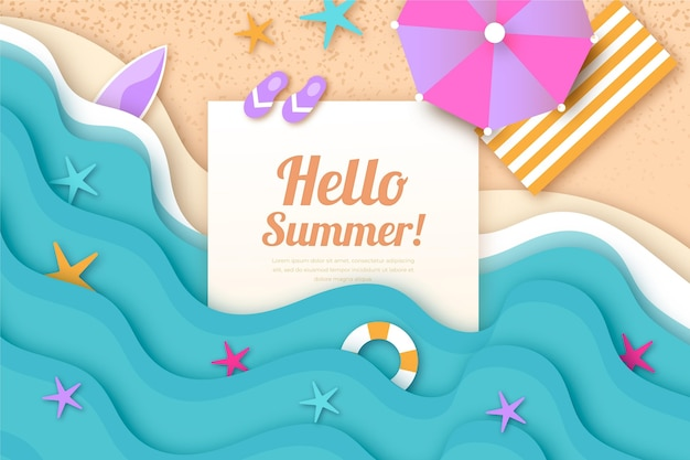 Summer wallpaper in paper style Free Vector