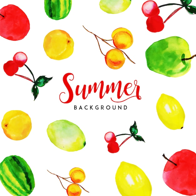 Summer Watercolor Fruits Multipurpose\ Background