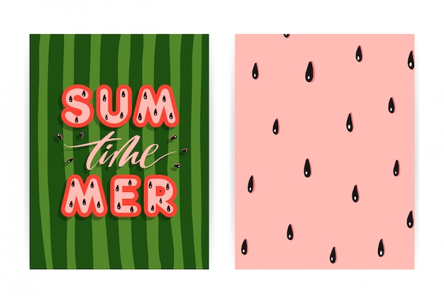 Summer watermelon background Premium Vector