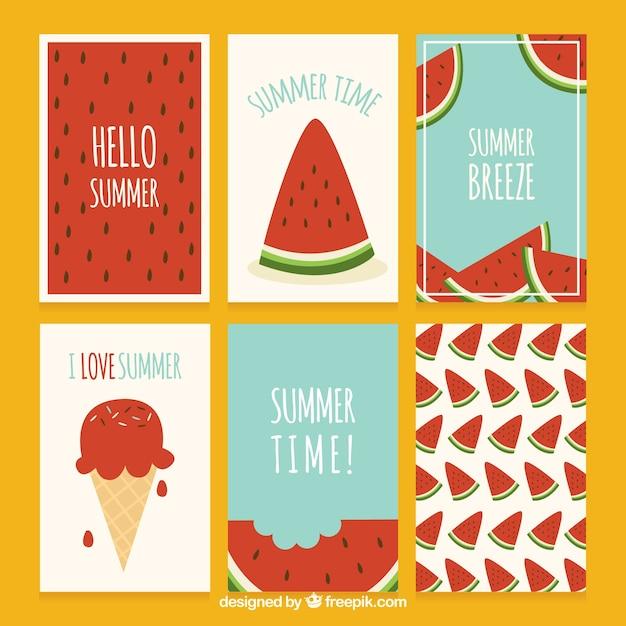 Summer watermelon cards set Free Vector