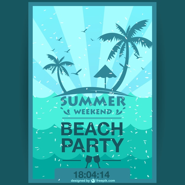 Summer weekend party poster Free Vector
