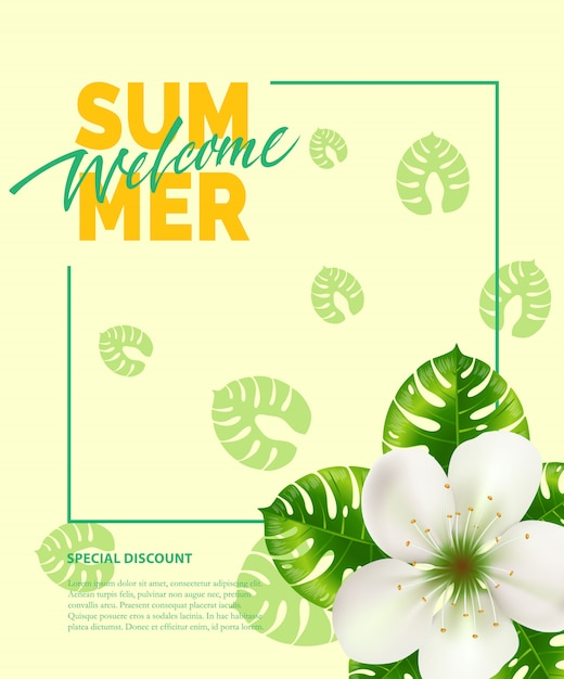 Summer, welcome lettering in frame with flower.\ Summer offer or sale advertising