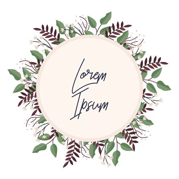 Summer wild flowers wreath. floral card or invitation template. Premium Vector