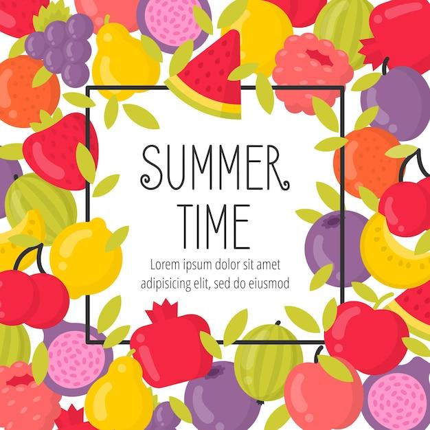 Лето с яркими фруктами и надписями. летний период Premium векторы