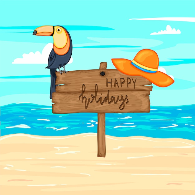 Summer wooden sign with happy holidays, sea and sand. vector illustration Premium Vector