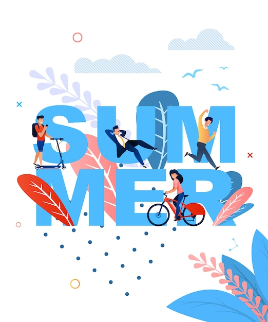 Summer word and resting cartoon people flat banner template Premium Vector
