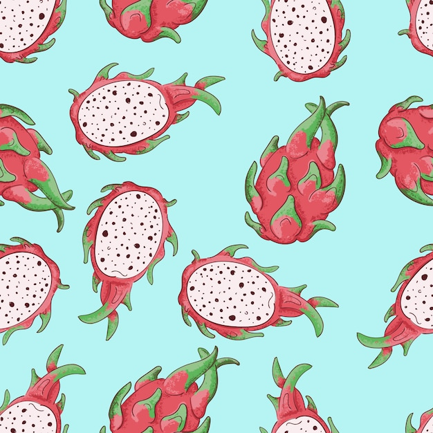 Summerr seamless pattern with tropical fruit Premium Vector