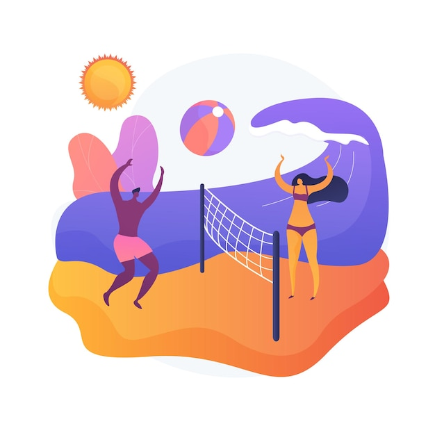Summertime activities. summer vacation, seaside relax, outdoor ball games. suntanned tourists playing beach volleyball. active rest idea. Free Vector