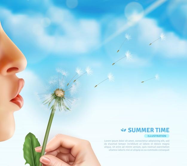 Summertime dandelion blow background Free Vector