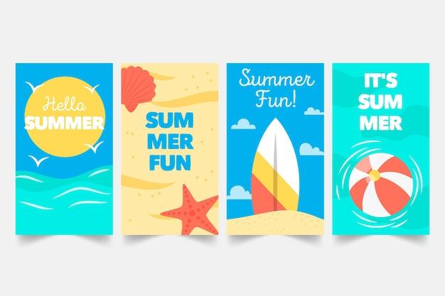 夏のinstagramストーリーコレクション 無料ベクター