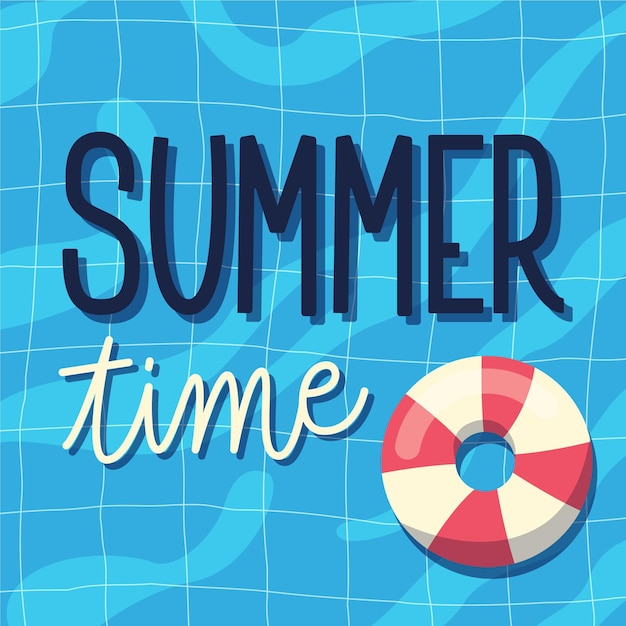 Summertime lettering with floatie Free Vector
