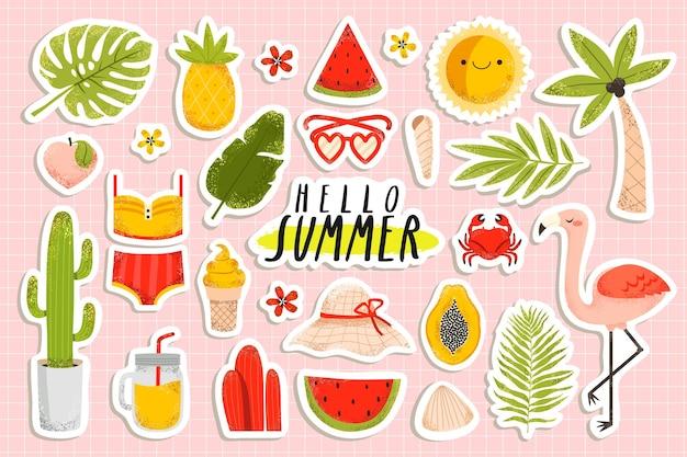 Summertime stickers set with flamingo, pineapple, palm tree, ice cream, bikini, watermelon, flowers on pastel pink background. Premium Vector