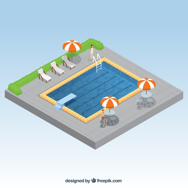 Summertime swimming pool in isometric\ style