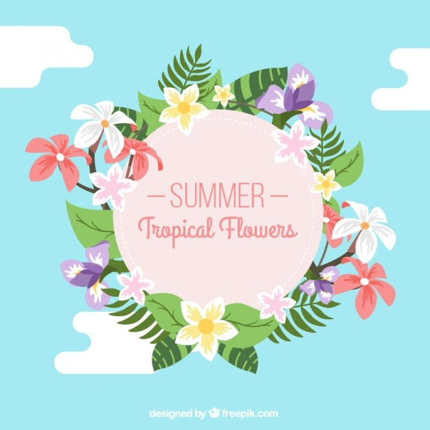 Summertime tropical flowers decoration vector free download summertime tropical flowers decoration free vector junglespirit Images