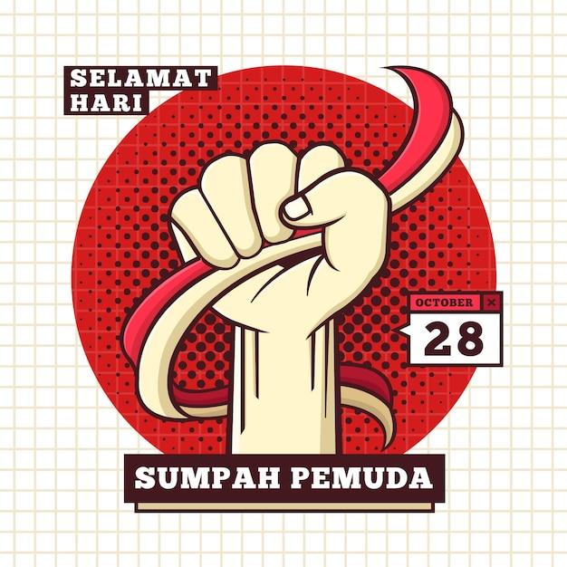 Illustrazione di sumpah pemuda con il pugno Vettore gratuito
