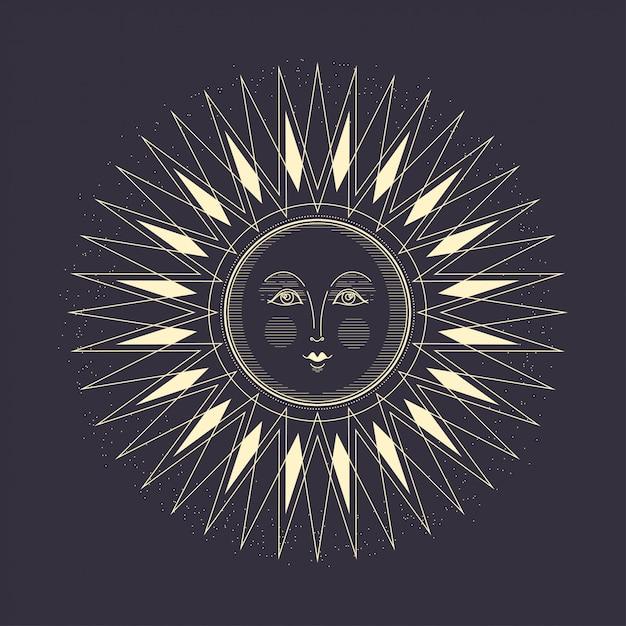 The sun art deco style. Premium Vector