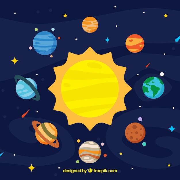 太陽の背景とフラットなデザインのカラフルな惑星 Premiumベクター