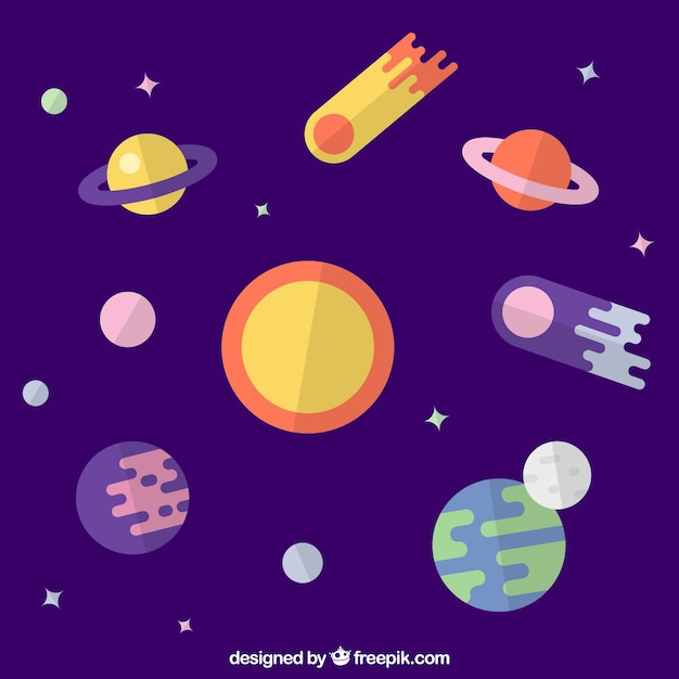 Sun background with planets in flat design