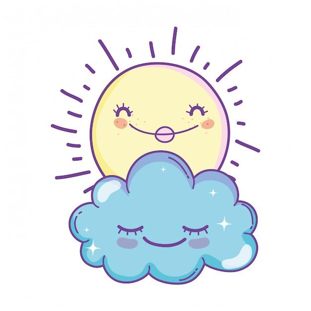 Sun and clouds cartoons Premium Vector