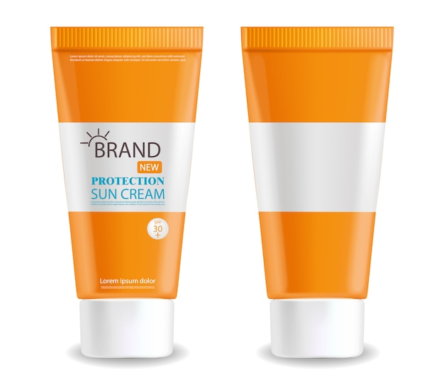 Sun cream bottle realistic isolated, white background, packaging , protection sun cream, summer cosmetics Premium Vector