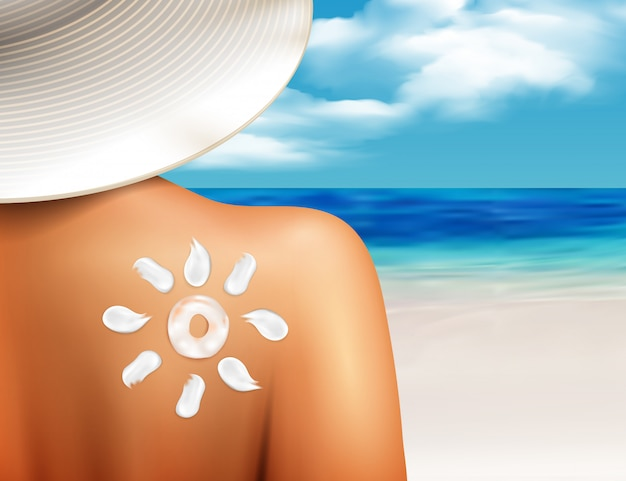 Sun cream on shoulder realistic Free Vector