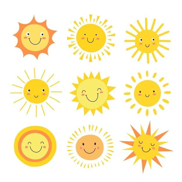 太陽絵文字セット Premiumベクター