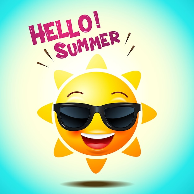 Sun face icons or yellow , funny faces in realistic . emojis . hello summer. vector illustration Premium Vector