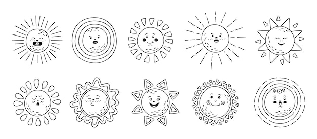 Premium Vector Sun Flat Linear Set Hand Drawn Cute Suns Funny Outline Childish Sunny Emoticons Collection Smiling Sun Sunbeams Cartoon Character Emoji Black Line Summer Emoticons Isolated Illustration