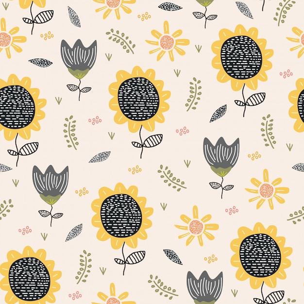 Sun flower seamless pattern drawing Premium Vector