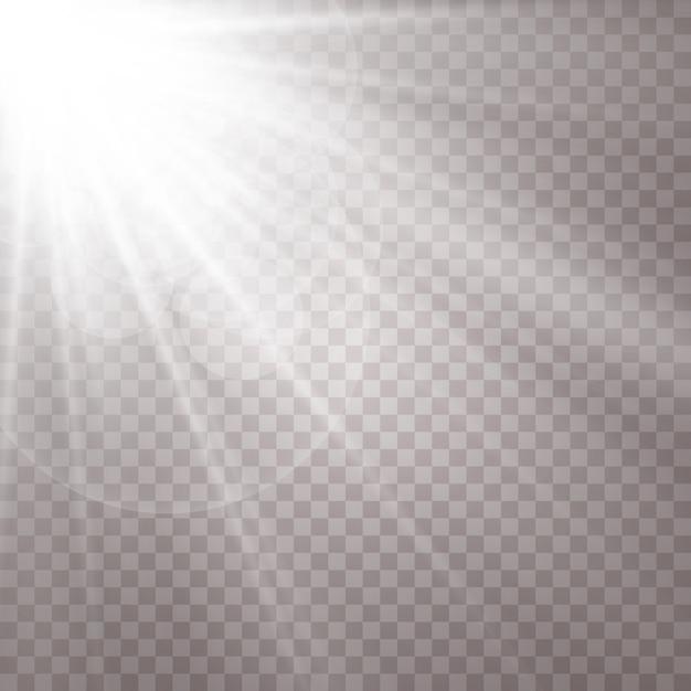 Sun glare on transparent background. Premium Vector
