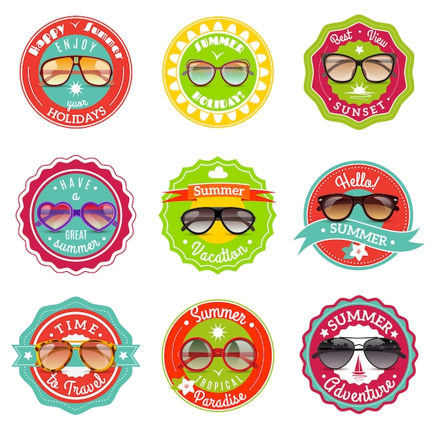 Sun glasses summer sale labels Free Vector