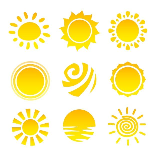 Sun icons collection Premium Vector