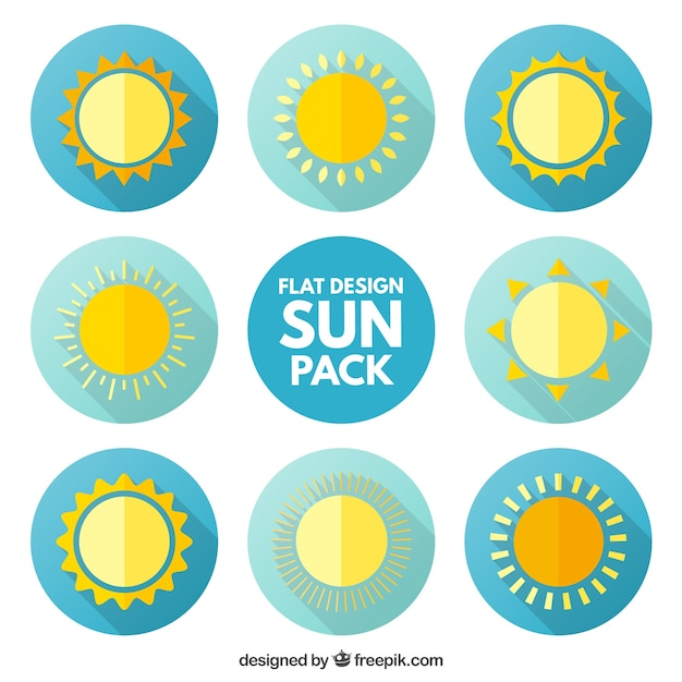 Sun icons pack in flat design Free Vector
