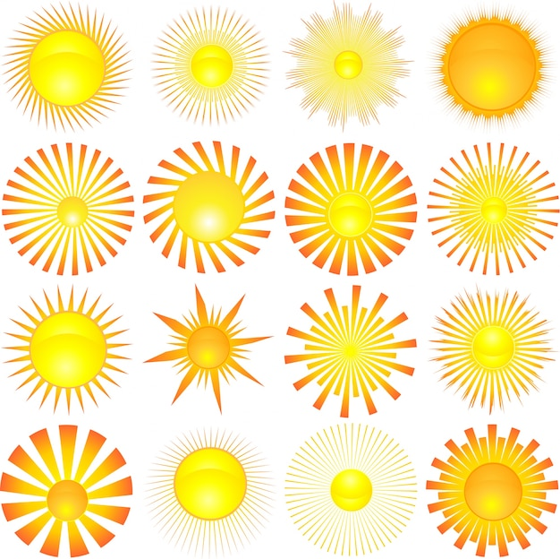 sun icons vector free download