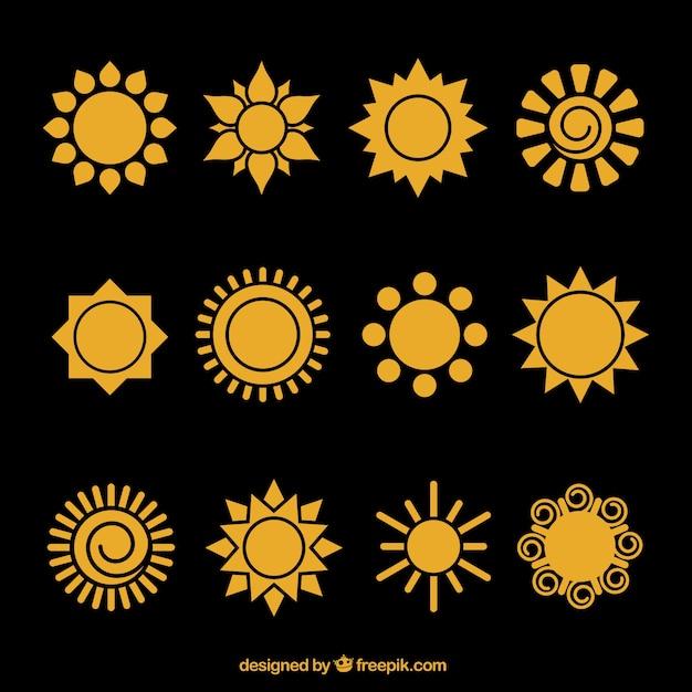 Sun icons Free Vector