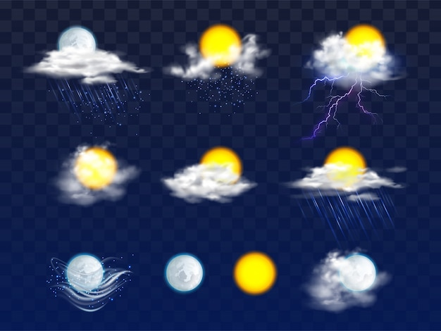 Sun and moon disks clear and in clouds with rain and snow icons Free Vector
