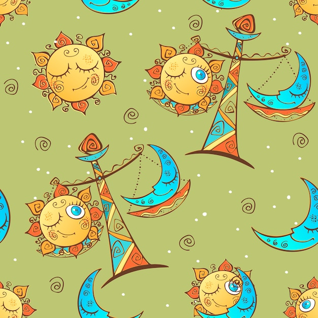 Sun moon libra . children's fun seamless pattern. Premium Vector