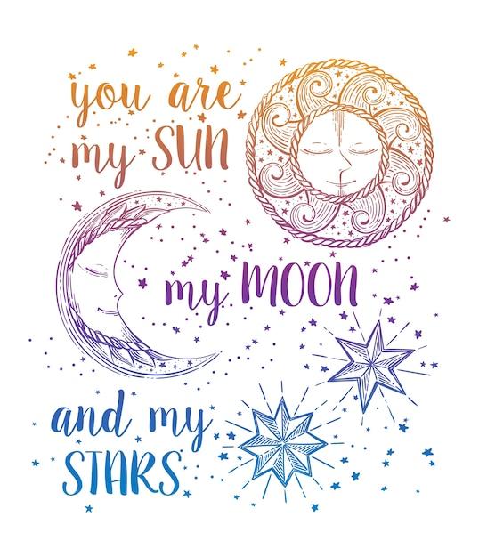 Sun, moon and stars Premium Vector