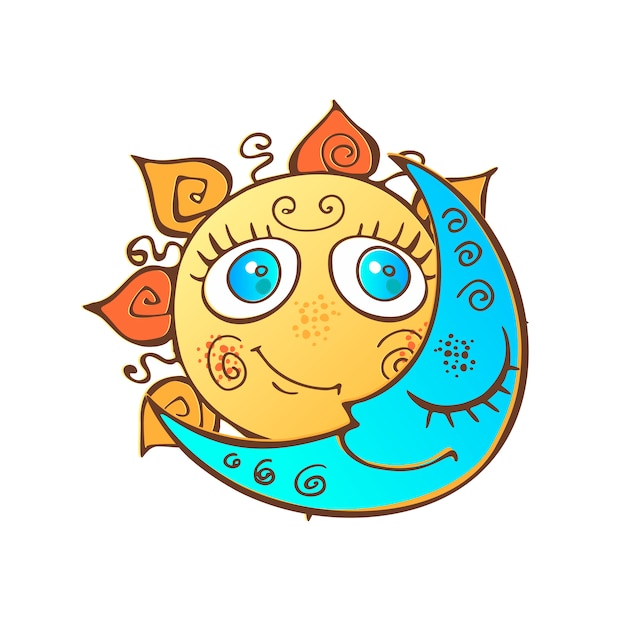 The sun and the moon Premium Vector