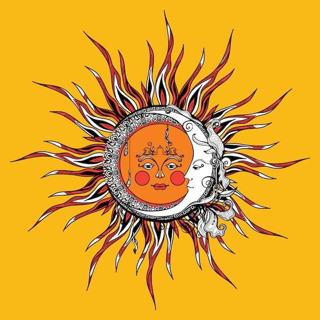 Sun and moon Free Vector