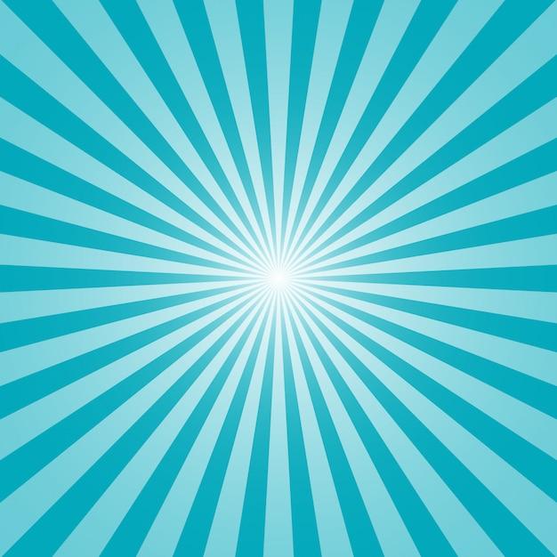 Sun and rays on blue Premium Vector