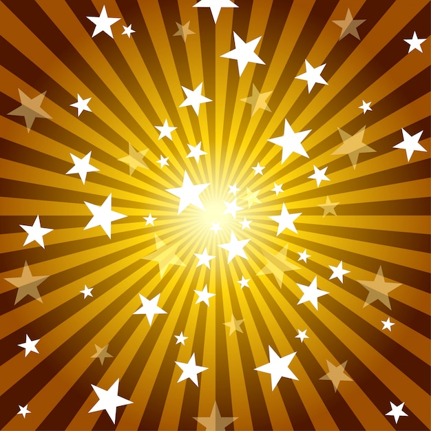 Sun rays and stars background Premium Vector
