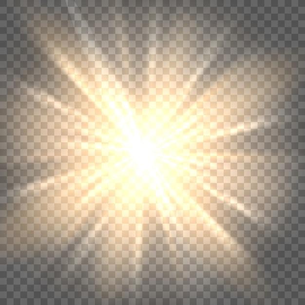 Sun rays on transparent background Premium Vector