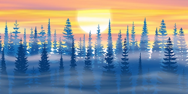 The sun sets in the winter forest Premium Vector