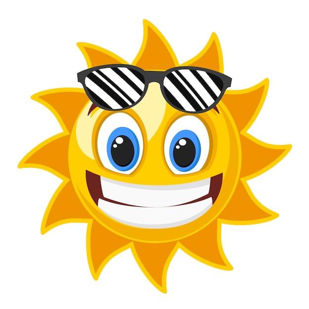 Premium Vector   Sun smile in black glasses on white.