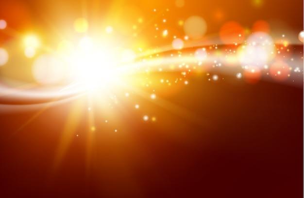 太陽は暗い空間に輝きます。 無料ベクター
