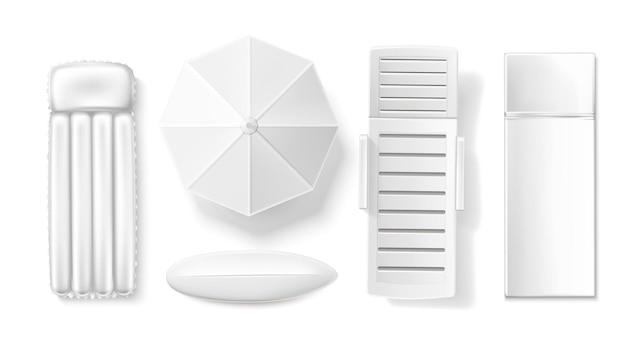 サンパラソルとラウンジャーロングボードサーフデザインコレクションイラスト Premiumベクター